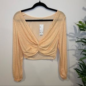 UO Twist Front Long Sleeve Blouse